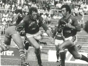 Wynnum-Manly's 1982 coach, Des Morris in action for the Seagulls the previous year, unloading in typical skilful fashion to centre, Neil Moy.