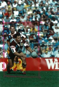Kevin Walters in action for the Broncos at Lang Park