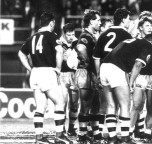 Captain, Gary Freeman tries to rally Kiwi teammates after Australia score a try in the series deciding Third Test at Lang Park, Brisbane in 1991. Australia won 40-12