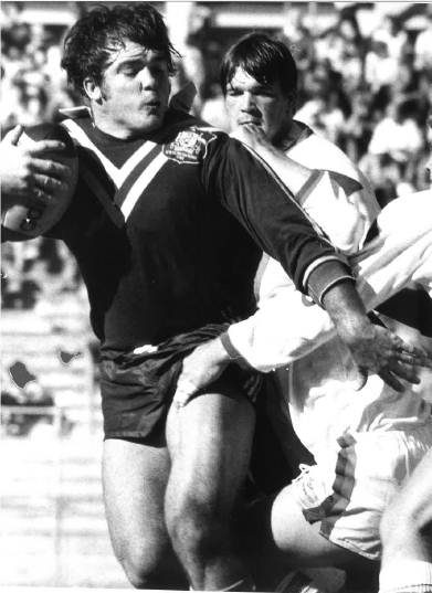 Martin Bella playing for the Australian Rugby League under-18 side against Great Britain in a youth international at Lang Park.