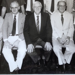 Jack Reardon (right) with former QRL boss, Ron McAuliffe (centre) and noted Brisbane journalist, Paul Sweeney