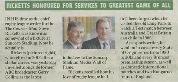 Excerpt from The Courier Mail, Thursday March 6 2014.