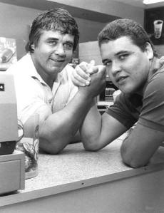 Former Kiwi Test prop, Robin Orchard arm wrestles his son, Robert Jnr