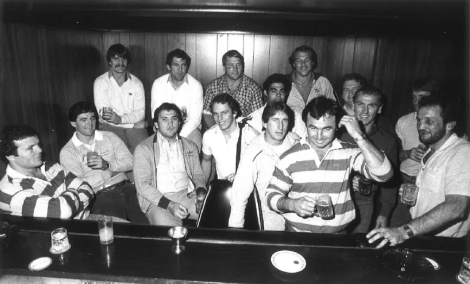 Les Boyd (far left) with other members of the Australian team ahead of a Test against New Zealand at Lang Park in 1982.