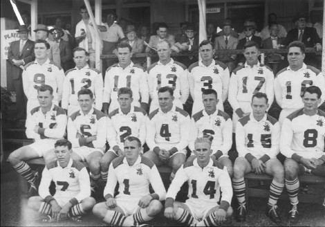 Alex Watson (wearing jersey number 4) pictured here in a Brisbane representative side. Can you name the other players? Answer with next Flashbacks