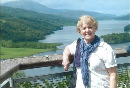 Marie at Queens View overlooking Loch Tummel.