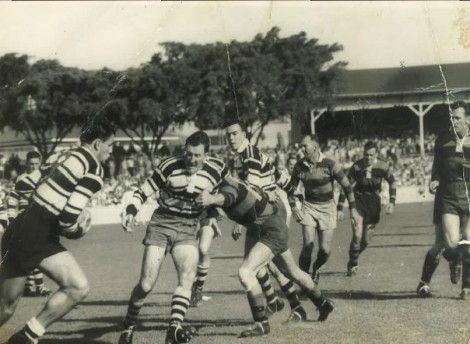 Action from the 1956 BRL grand final at the Gabba, between Brothers and Wests. Any help identifying players would be welcome. Photo courtesy of the Melit family.