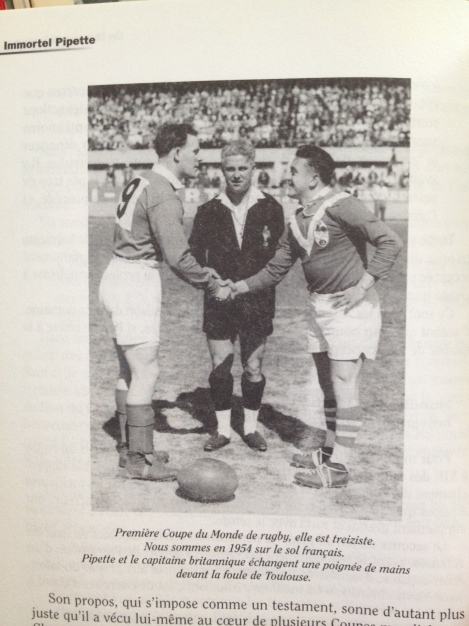 French captain, Puig Aubert (right) shakes hands with British counterpart, Scotsman, Dave Valentine, ahead of their World Cup clash in Toulouse. Watching on is English referee, Charlie Appleton from Warrington