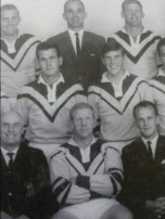 Clive Churchill (centre back) in the official Easts team photo from 1965. In the centre at the front is skipper, Ben Wall.