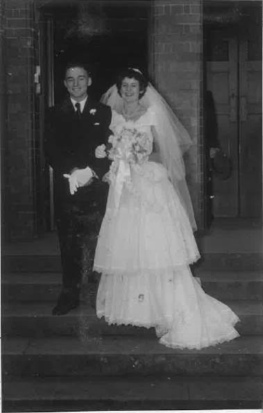 Jon and Lola Ricketts on their wedding day, May 12, 1951, outside St Carthages Cathedral, Lismore.
