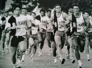 North Queensland Cowboys' players train in their debut 1995 season