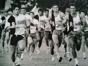 North Queensland Cowboys' players train in their debut 1995 season