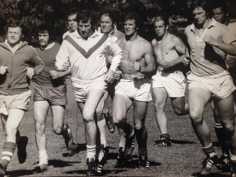 British players train in Brisbane ahead of the First Test of the 1974 series (from left): Roger Millward; dual international, David Watkins; Jim Mills, George Nicholls, Terry Clawson, John Bates, John 'Keith' Bridges, Paul Rose and Colin Dixon.