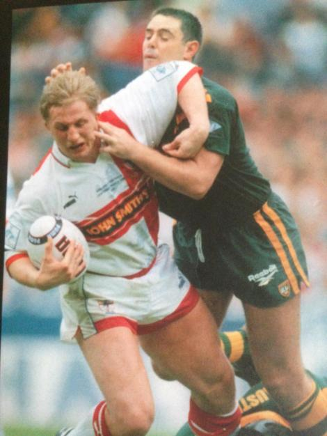 Denis Betts in action for England against Australia in 1995. That's Brad Fittler making the tackle.