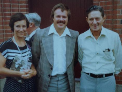 Doug Kaden (centre) with wife, Rita and my late father-in-law, Kevin Donnelly, back in the groovy 70s.