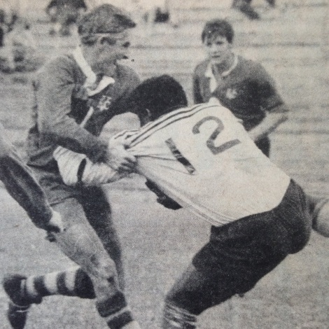Ross Threlfo tackles Souths' Fijian import, Isola Volavola in a Brisbane club match at Lang Park.