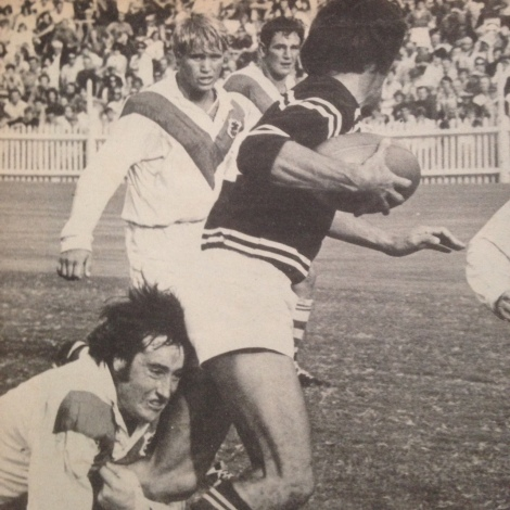 Geoff Carr, in his St George playing days, tackles Manly-Warringah rival, the great Ken Irvine in a 1971 Sydney fixture.
