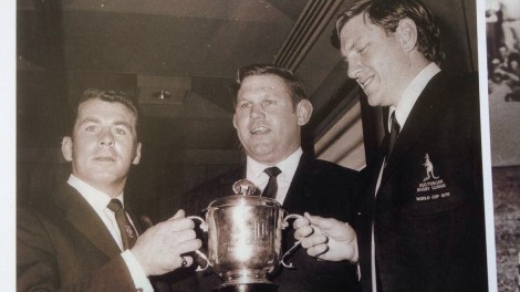 Billy Smith (left), coach Harry Bath and skipper, Ron Coote with the 1970 World Cup
