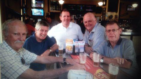 Ol journos at Breakfast Creek pub 2015 (from left) Lawrie Kavanagh, David Falkenmire, Steve Ricketts, Barry Dick, Jack Craig