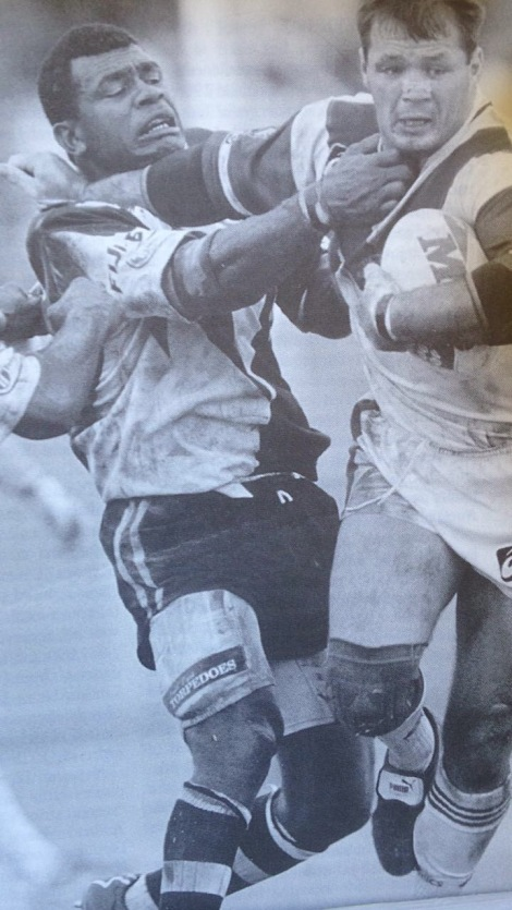 British forward, Steve Molloy in action against Fiji.