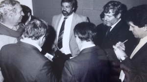 Alan Clarkson (far left) with a media scrum interviewing Queensland coach, Arthur Beetson. Also in the pic (from left) are Ray Chesterton, Peter 'Chippy' Frilingos. Brian Mossop and Steve Ricketts.