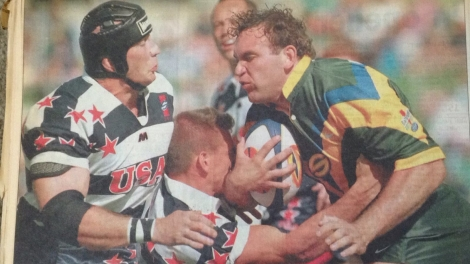 Gorden Tallis in action v USA. Three years later he captained Australia against Russia.