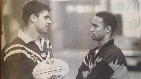 Rival captains, Brad Fittler (Australia) (left) and Adrian Lam (Rest of the World)