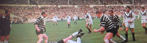 Barrow (white jerseys) play Featherstone at Wembley in 1967.